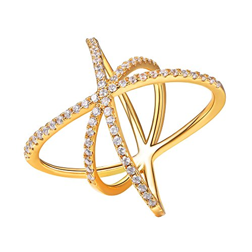 10 X Gold Plated - Suplight Criss Cross Ring with Cubic Zirconia Gold Plated X Ring for Engagement/Party/Wedding,Size 10