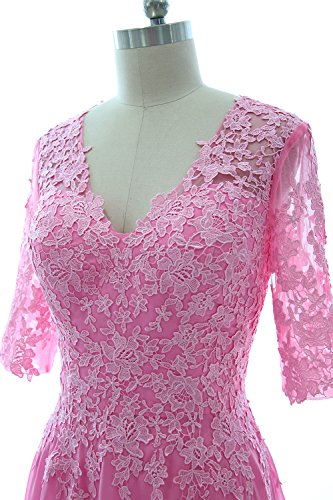 Dress Champagner Mother Evening Bride Gown Formal Lace Macloth Half Of Sleeves Women The