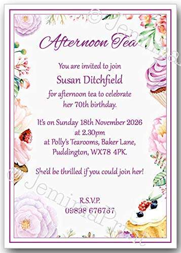 10 Personalised Afternoon Tea Birthday Party Invitations 18th 21st