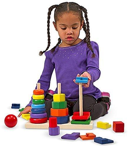 Geometric Stacker Toy (25-Piece Wooden Geometric Stacker Toddler Toy + FREE Melissa & Doug Scratch Art Mini-Pad Bundle [05678])