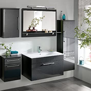 Amazon.de: Komplett Badezimmer Möbel Set Hochglanz Badmöbel Schrank ...
