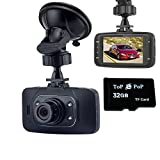 Topepop 1080P HD Car DVR Dash Cam Digital Video Recorder Car Camera Camcorder Night Vision with Class 10 32GB TF Mirco SD Card