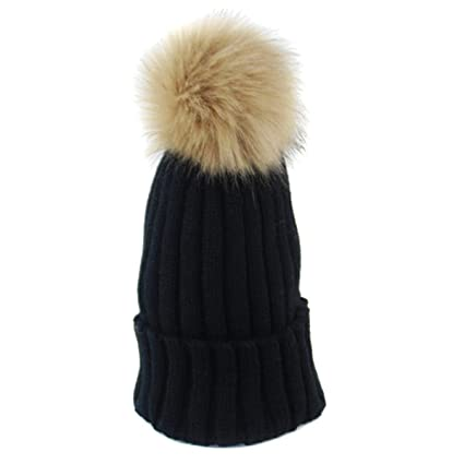Natuworld Ladies Womens Trendy Warmer Faux Fur Pom Pom Large Raccoon Ribbed  Knitted Wool Ball cf52945f6c5