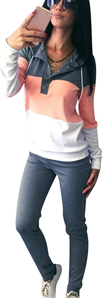 TALLA L (Busto 98 CM). Chandal Mujer Mujeres Chándales con Capucha Conjunto Chandal Chándal Señora Conjuntos Deportivos de Manga Larga Pantalones Sudadera Sudaderas Deportivas Deportistas Chicas Moderno