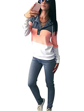 Chandal Mujer Mujeres Chándales con Capucha Conjunto Chandal Chándal Señora Conjuntos Deportivos de Manga Larga Pantalones Sudadera Sudaderas Deportivas ...