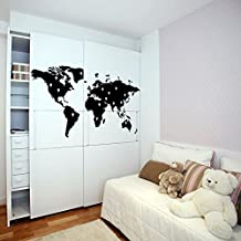( 47'' x 26'') Vinyl Wall Decal World Map with Google Dots / Earth Atlas Shiluette Art Decor Sticker / Removable DIY Home Mural + Free Random Decal Gift