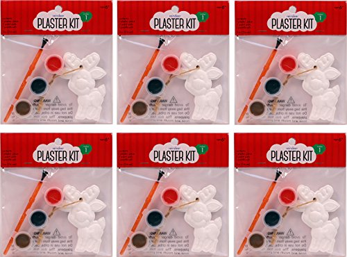 Creative Hobbies Paint Your Own Plaster Christmas Ornaments, 6 Complete Kits, 3 Inch Reindeer Shape, Makes 6 DIY Ornaments