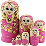 Moonmo 7pcs Cute Pink Sweater Braid Girl Russian Nesting Dolls Matryoshka Toys