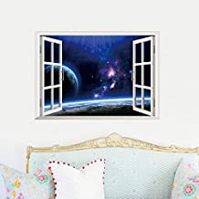 ufengke® 3D Special Effects Universe Galaxy In The False Window Wall Decals, Living Room Bedroom Removable Wall Stickers Murals