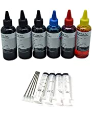 6 x 100ml Black Cyan Magenta Yellow Bottled Compatible with EPSON,HP, Canon, Brother and LEXMARK Ink Refillable Ciss Cartridge Sytems High Quality Includes Blunt Needle and Syringe for Refilling