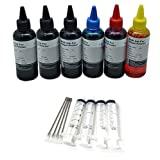 6 x 100ml Black Cyan Magenta Yellow Bottled Ink for EPSON,HP, Canon, Brother and LEXMARK Ink Refillable Ciss Cartridge Sytems High Quality Includes Blunt Needle and Syringe for Refilling