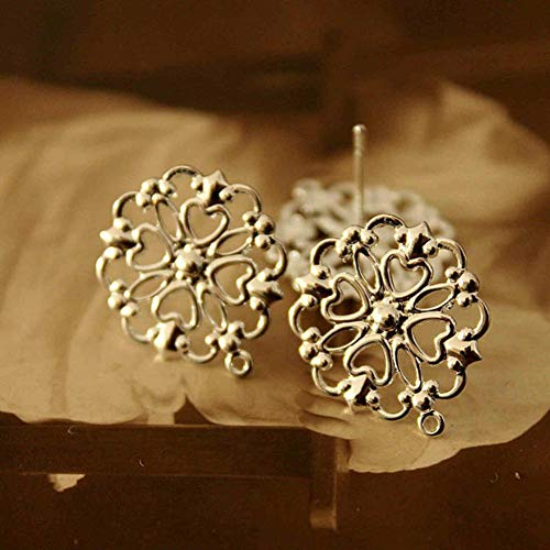 (GEDASHU earings Gold Silver Antiqued Bronze Plated Brass Filigree Lace Steel Post Earring)