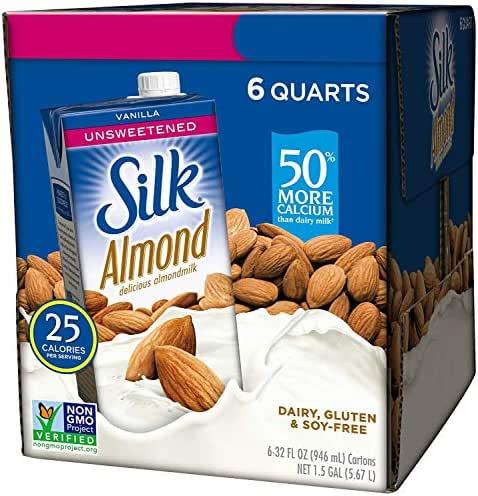 Silk Almond Milk, Unsweetened Vanilla, 32 Fluid Ounce (Pack of 6), Vanilla Flavored Non-Dairy Almond Milk, Dairy-Free Milk (2 Case(Pack of 6))