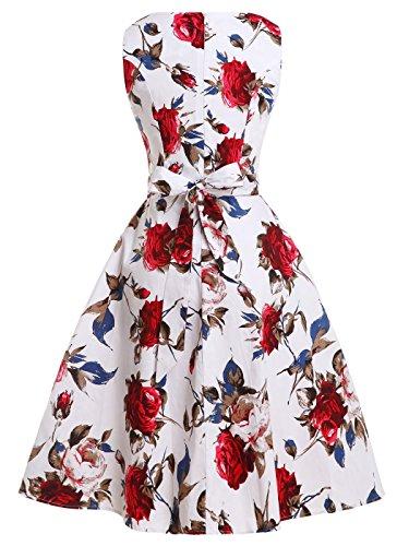 Abito Floreale Blaues Mit Vestito Motivo Stile '50 Anni Blumen Fairy Svasato Drt017 Con Vintage Couple Cocktail Fiocco Da Rot qZTHz71