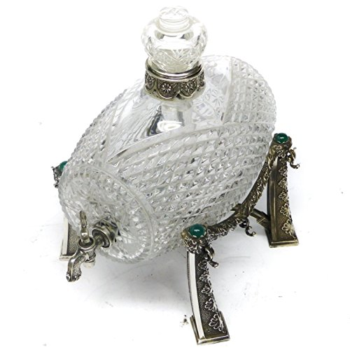 - Silver Sterling With Crystal Barrel & Gemstones Including Six Silver Cups