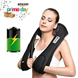 Naipo Back Neck and Shoulder Massager Shiatsu with Heat and Deep 3D Tissue Kneading Cordless and Rechargeable for Anytime Anywhere USE
