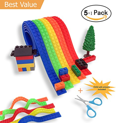 Lego Tape, CORZY Block Tape for Lego Bricks Self-Adhesive Building Block Tape, Non-toxic Silicone, Cuttable, Compatible with Major Building Blocks Brands, 5 pack Bonus Child-Safe Scissors,5 Colors - Adhesive Self Flexible Dots