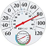 Headwind Consumer Products 840-1212 EZREAD Dial Thermometer/Hygrometer Basic White 12.5''