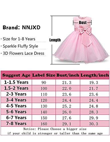 NNJXD Vestito Cerimonia Bambina,Ragazza Gonna a Fiori in Pizzo 3D Senza Maniche Vestito da Principessa delle Feste 3