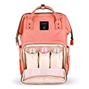 Smilism Diaper Bag Backpack for Baby Care, Multi-Functional Baby Nappy Changing Bag with Insulated Pockets, Waterproof Fabric, Large Capacity, Orange
