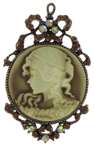 Victorian Revival Cameo Pin Brooch Scarf Clips Corsage Jewelry for Lady Topaz Rhinestone