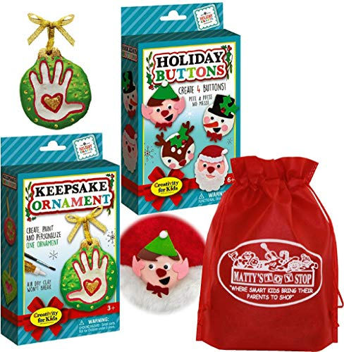 Creativity for Kids Christmas Holiday Buttons & Keepsake Ornament Gift Set Bundle with Exclusive Matty's Toy Stop Storage Bag - 2 Pack -