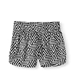 Athletic Works Girls' Printed Reversible Mesh Shorts - Driworks + Moisture Wicking Fabric (Black Geo, XL, 14-16)