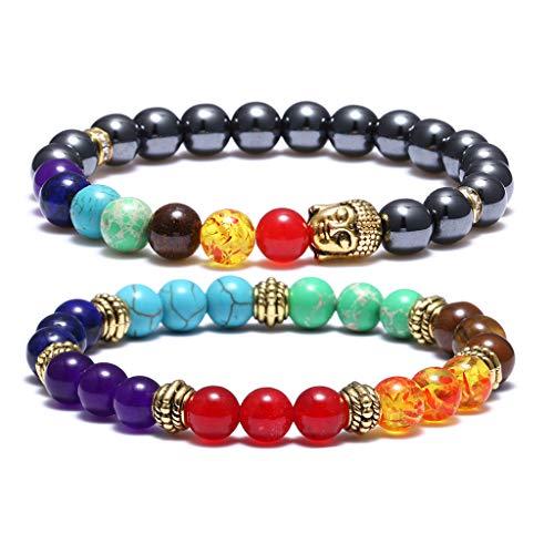 Bracelet Silver Plated Stretch Beaded (VALIJINA 2PCS 7 Chakra Beads Bracelets Men Women Yoga Meditation Healing Balancing & Antique Buddha Head Beaded Bracelet Set,Elastic, Stretch)