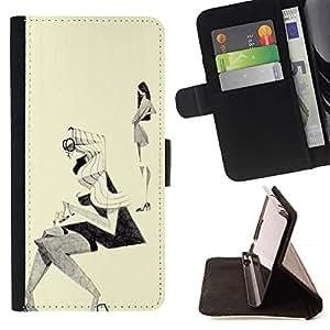 Momo Phone Case / Flip Funda de Cuero Case Cover - Bosquejo de la moda Outfit Diseño Negro Blanco - LG G2 D800