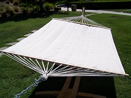 Petra Leisure 14 Ft. Natural Wooden Arc Hammock Stand + Quilted Beige Color, Double Padded Hammock Bed. 2 Person Bed. 450 LB Capacity
