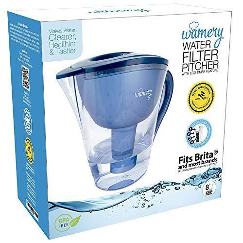 Wamery Carafe d/'eau alcaline 2 litres Syst/ème de filtration portable pour leau du robinet Ioniser Filtrer Augmenter le pH et am/éliorer le go/ût de leau du robinet de cuisine Cartouche gratuite