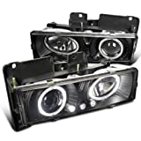 Spec-D Tuning LHP-C1088JM-RS Chevy GMC C10 Pickup Silverado Suburban Black Halo Led Projector Headlights