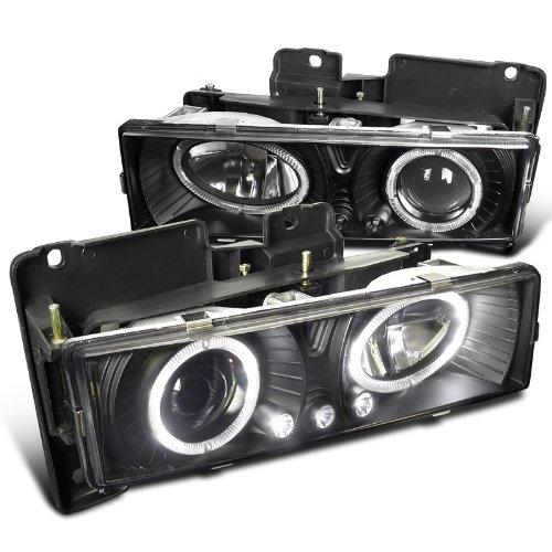 Spec-D Tuning LHP-C1088JM-RS Chevy GMC C10 Pickup Silverado Suburban Black Halo Led Projector Headlights (97 Silverado Headlights compare prices)