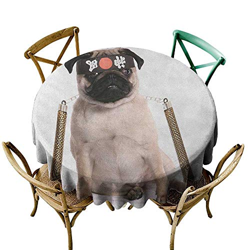 Wendell Joshua Tablecloth 54 inch Pug,Ninja Puppy with Nunchuk Karate Dog Eastern Warrior Inspired Costume Pug Image, Cream Black Gold Great for Buffet Table, Parties, Holiday Dinner & More