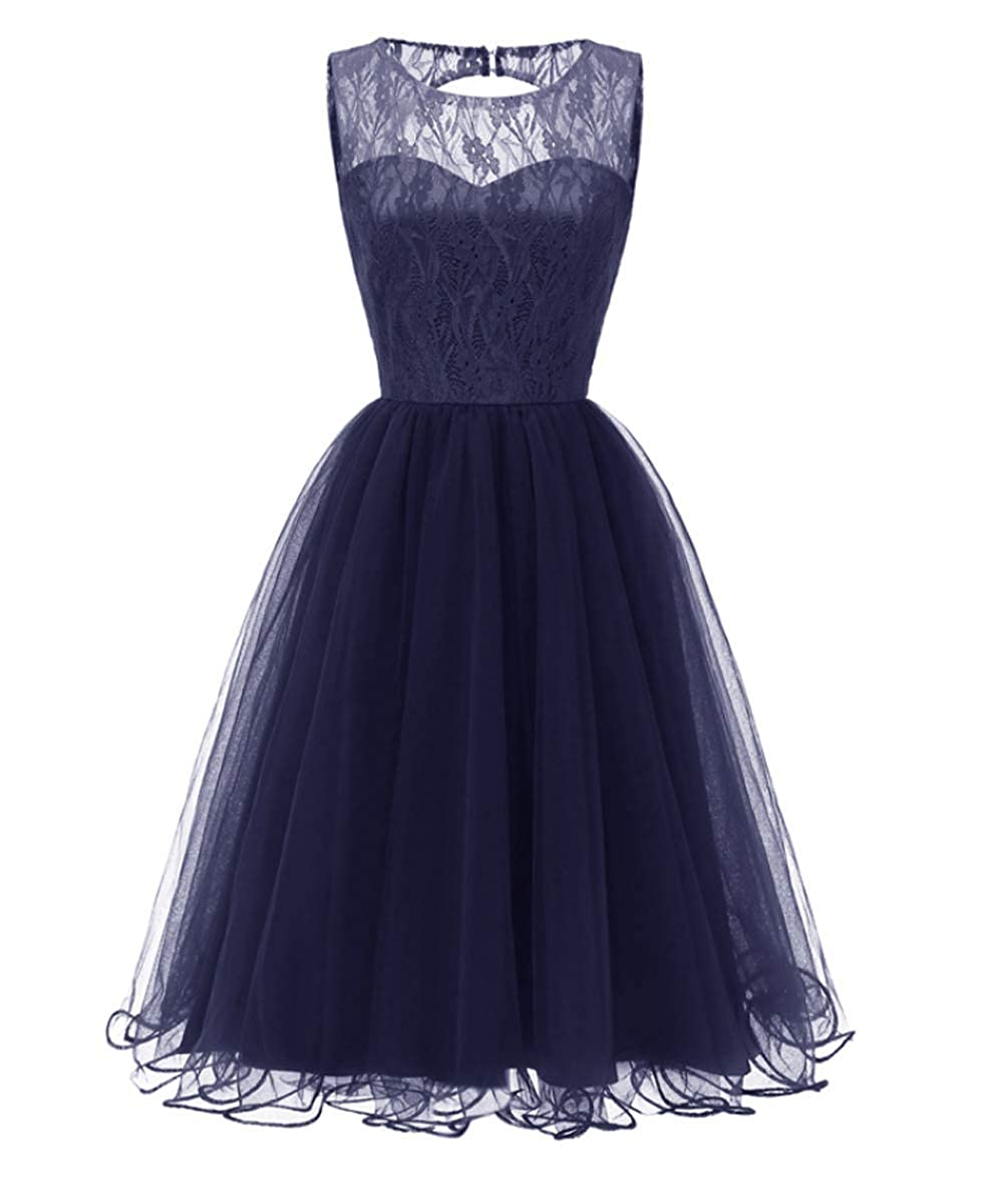 Mmondschein Womens Vintage Sleveless Floral Lace Top Tulle Evening Cocktail Prom Midi Dress