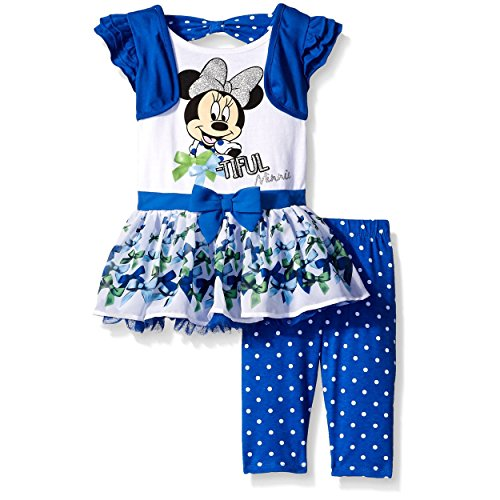 Disney Little Girls 2 Piece Bow-Tiful Minnie Top and Legging Set, Blue, 6 (Outfits For Tweens)
