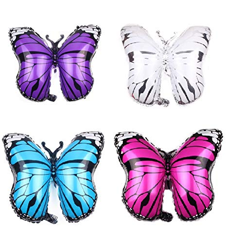 4pcs Butterfly Foil Balloons Helium Aluminum Party Balloons for Birthday Party Decoration Supplies