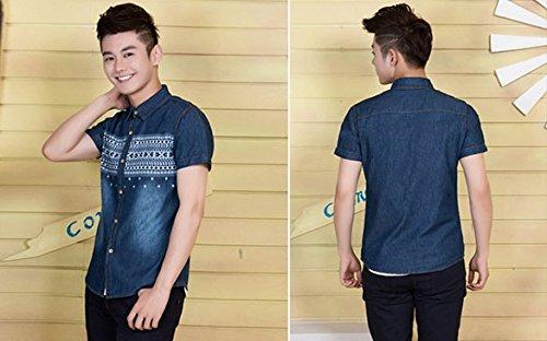 Bluetime Men's Short Sleeve Turn Down Collar Denim Tops Printed Jeans Shirt (L, Dark Blue)