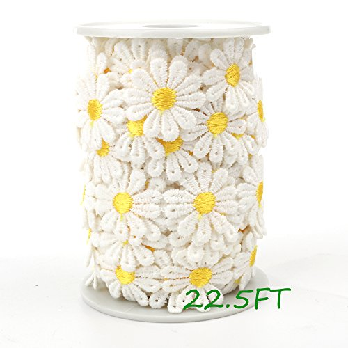 Black Menba Daisy Sun Flower Decorating Lace and Trims For Sewing and Art Craft Projects - Daisy Trim
