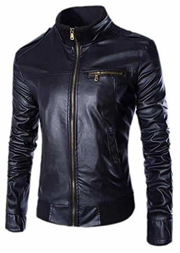 dotticool Men's Autumn Stand Collar Water Leather Locomotive Jacket BlackX-Small Cool