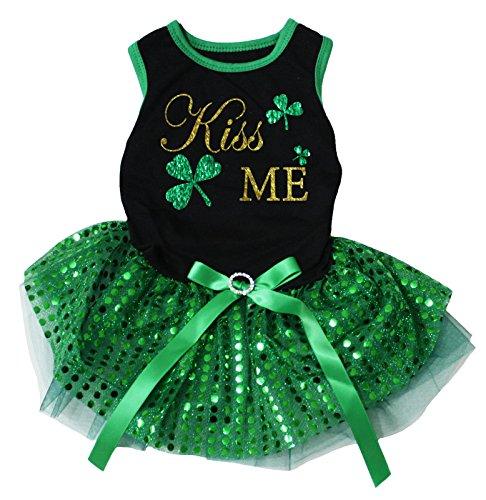 Petitebella Kiss Me Clover Black Shirt Green Sequins