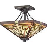 Quoizel TF885SVB Stephen Tiffany Semi Flush Mount Ceiling Lighting - 2-Light - 200 Watts - Vintage Bronze (15