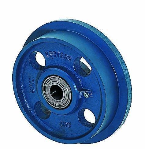 Spurkranzräder aus Grauguss, Rollen ø 200mm SPK/200 beidseitig kugelgelagert, blau lackiert, Flange wheels Räder Wendt GmbH & Co.