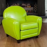 Christopher Knight Home 258608 David Oversized Lime Leather Club Chair, Green