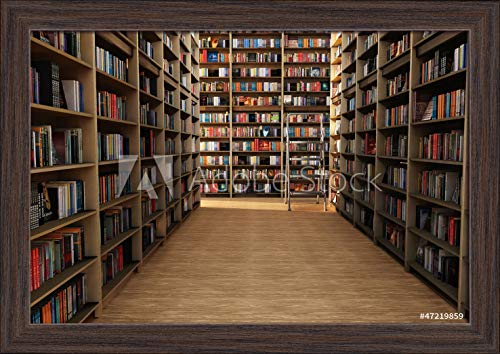 - View of Bookshelves Photograph A-90970 (18x12 Giclee Art Print, Gallery Framed, Espresso Wood)