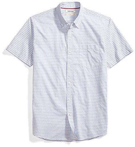 Fit Blue Stripe - Goodthreads Men's Standard-Fit Short-Sleeve Horizontal Stripe Shirt, Blue/White, Medium