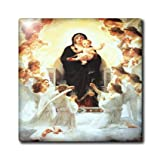 3dRose ct_174232_7 Image of Virgin Mary with Angels Painting Glass Tile, 8-Inch