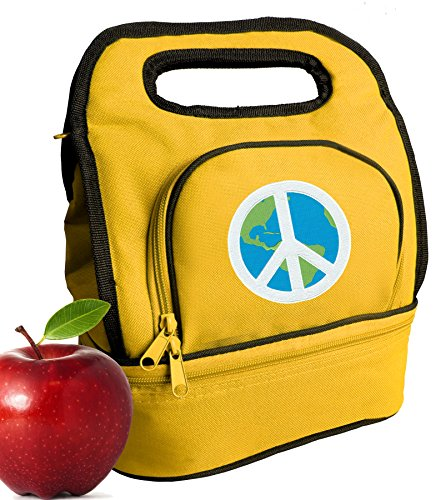 Peace Sign Lunch Bag Cooler Two Section World Peace Lunchboxes