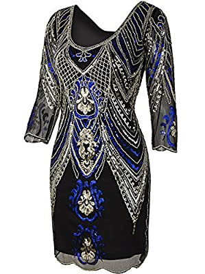 Vijiv 1920s Flapper Dress With 3/4 Sleeve V Neck Squins Cocktail Gatsby Dresses