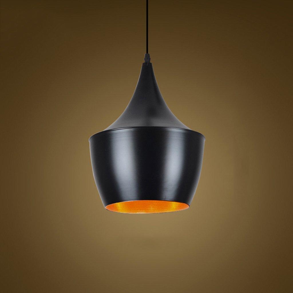 Aluminum chandelier E27 1 lighting restaurant bar living room chandelier bedroom clubs Nordic modern minimalist creative personality A+ ( Color : Black , Size : 2034cm )
